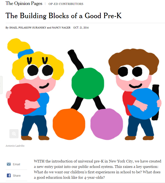 A story about the qualities of a good preschool programs in the New York Times