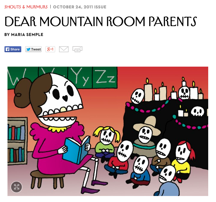 "New Yorker article ""Dear Mountain Room Parents"""