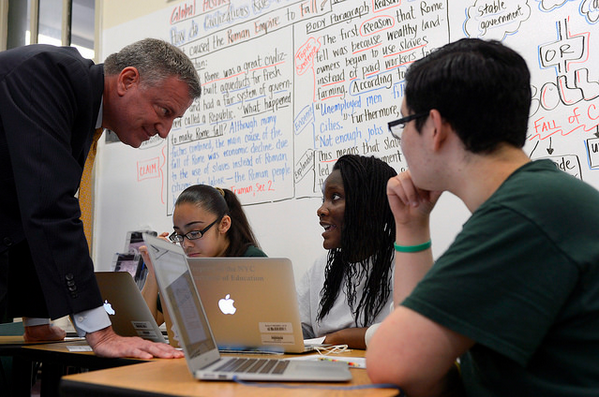 Mayor Bill deBlasio on a school visit